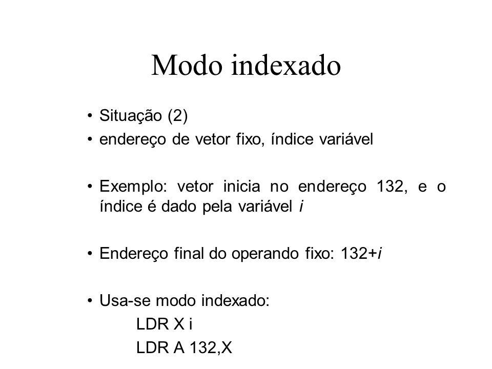 Modo indexado Situação (2) endereço de vetor fixo, índice variável
