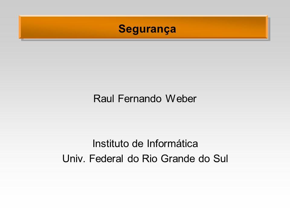 Segurança Raul Fernando Weber Instituto de Informática