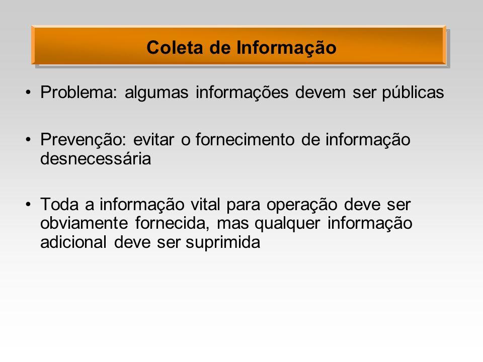 Coleta de Informação Problema: algumas informações devem ser públicas