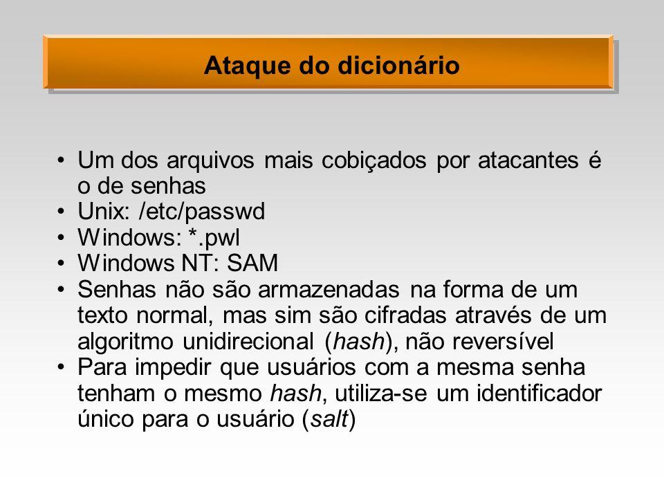 Ataque do dicionário Um dos arquivos mais cobiçados por atacantes é o de senhas. Unix: /etc/passwd.