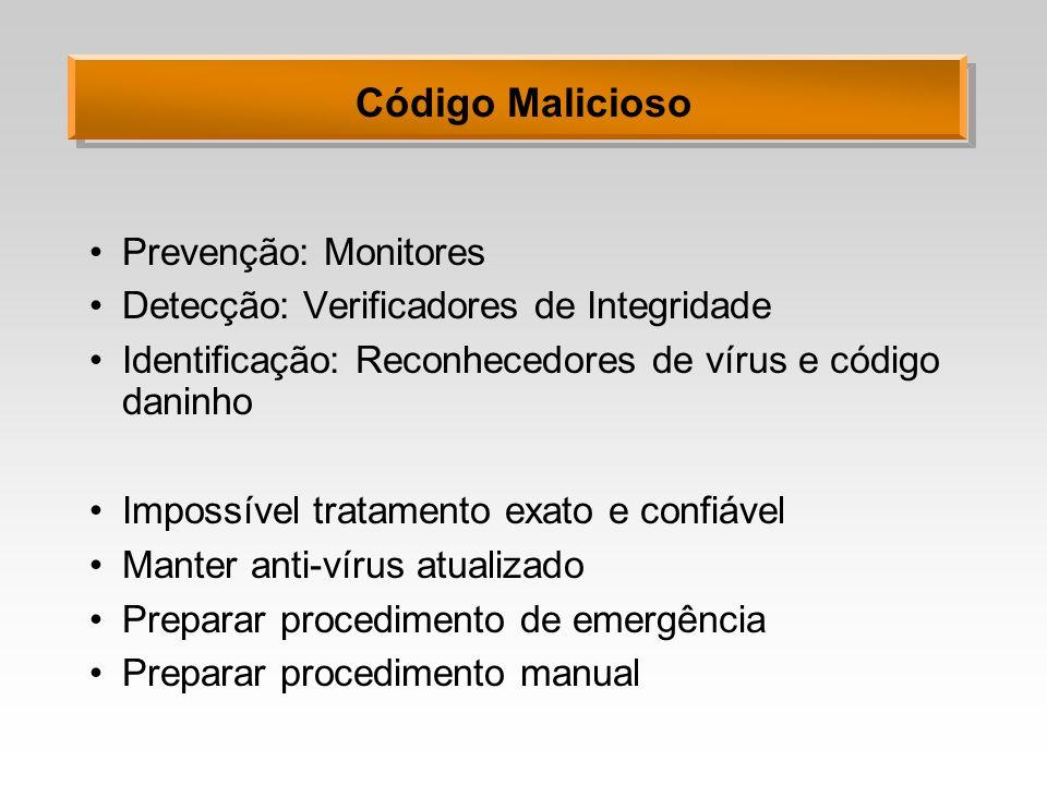 Código Malicioso Prevenção: Monitores