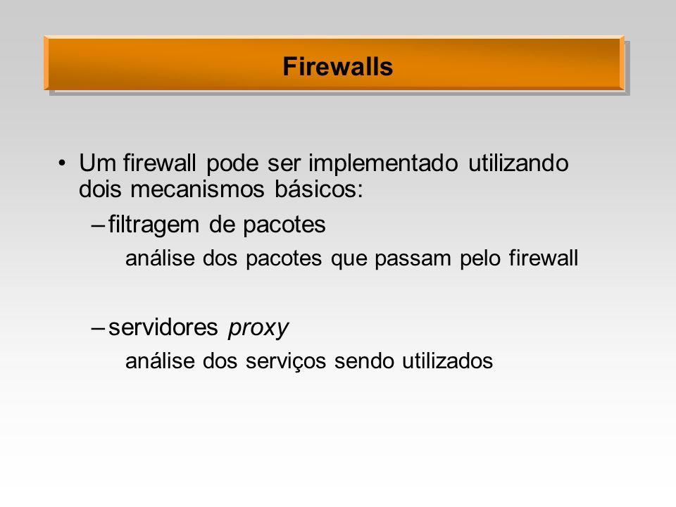 Firewalls Um firewall pode ser implementado utilizando dois mecanismos básicos: filtragem de pacotes.