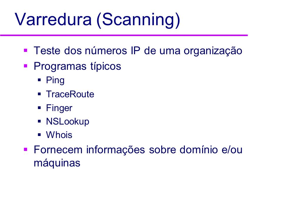 Varredura (Scanning) Teste dos números IP de uma organização