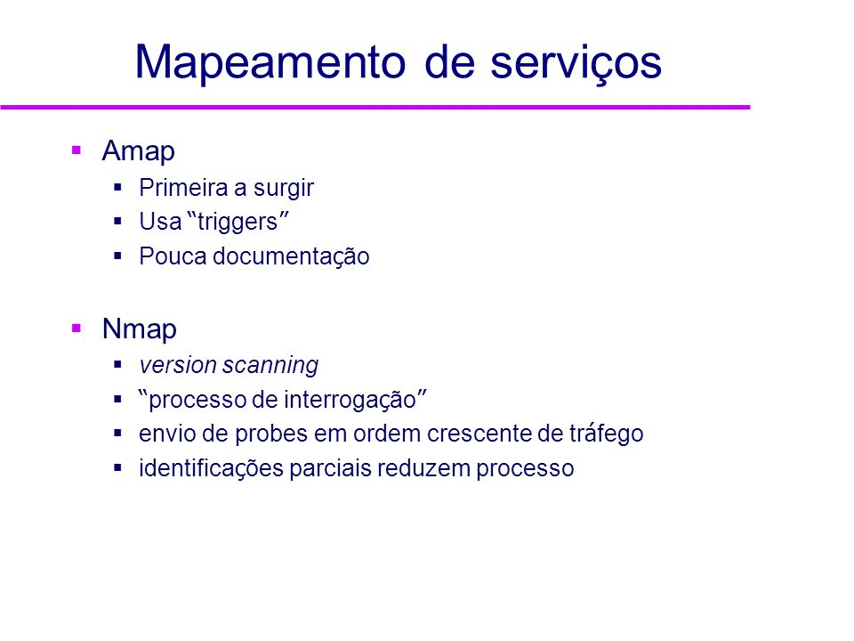 Mapeamento de serviços