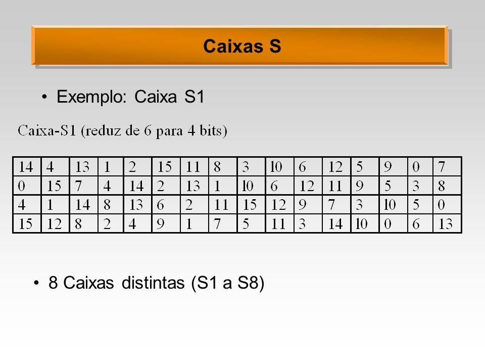 Caixas S Exemplo: Caixa S1 8 Caixas distintas (S1 a S8)
