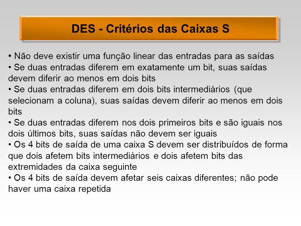 DES - Critérios das Caixas S