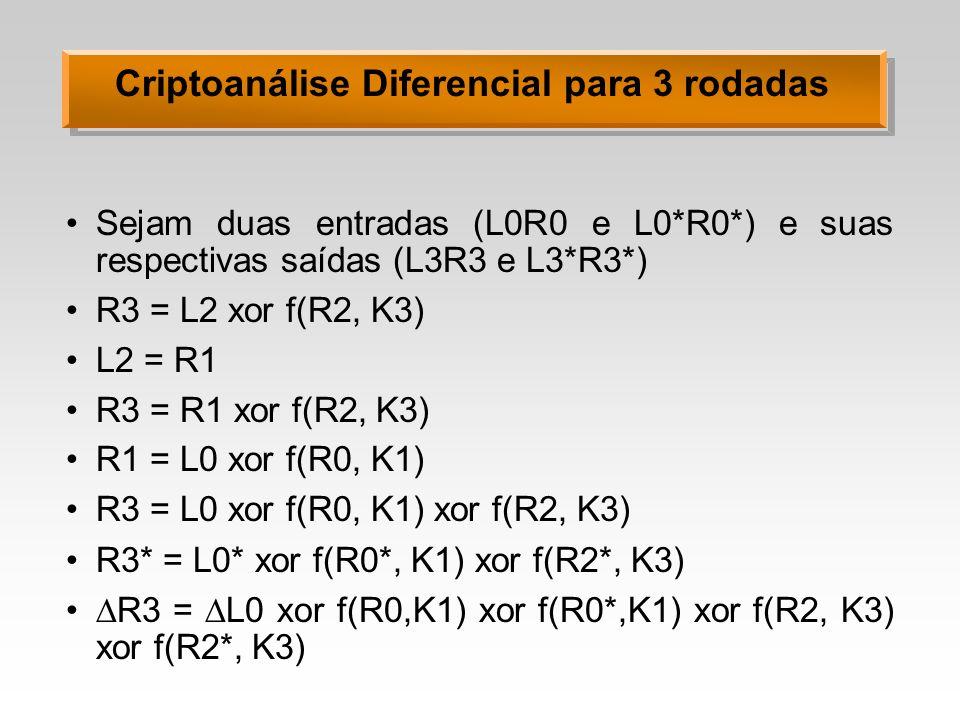 Criptoanálise Diferencial para 3 rodadas