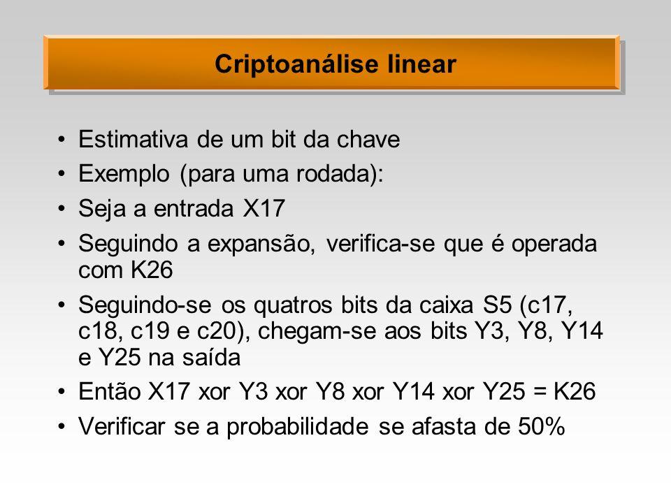 Criptoanálise linear Estimativa de um bit da chave