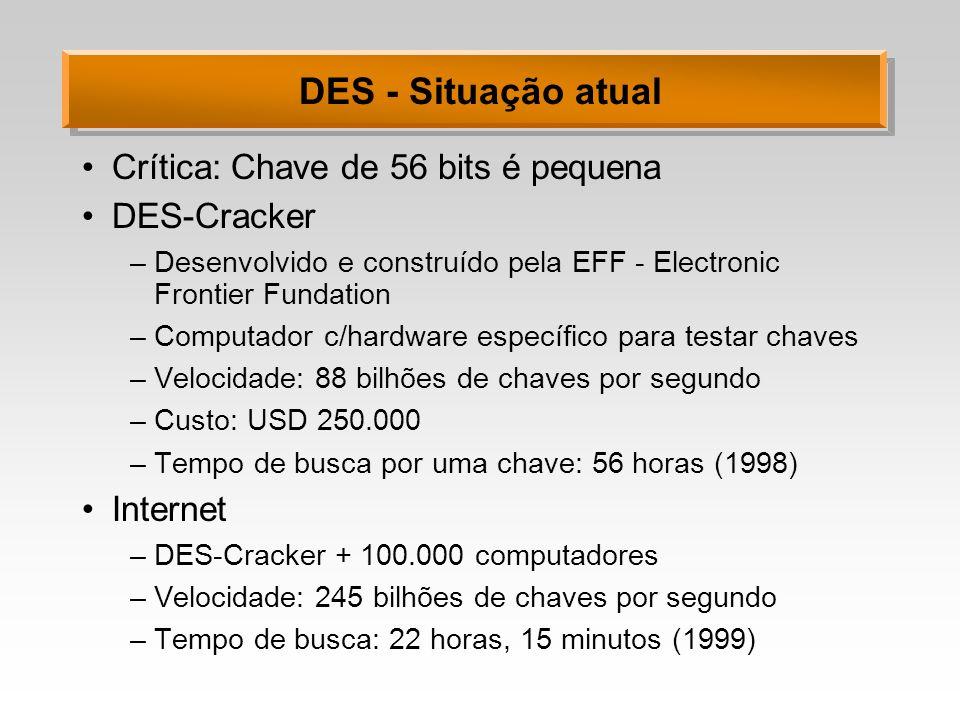 DES - Situação atual Crítica: Chave de 56 bits é pequena DES-Cracker