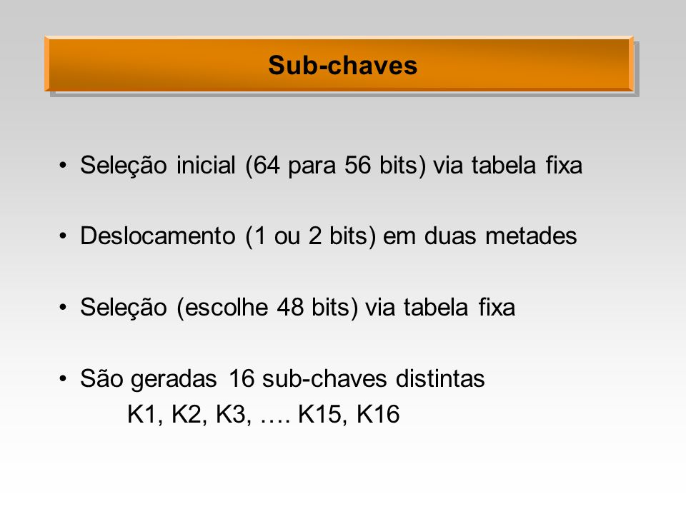 Sub-chaves Seleção inicial (64 para 56 bits) via tabela fixa