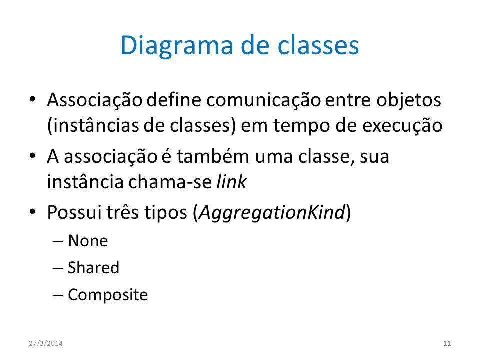 Diagrama de classes Associação define comunicação entre objetos (instâncias de classes) em tempo de execução.