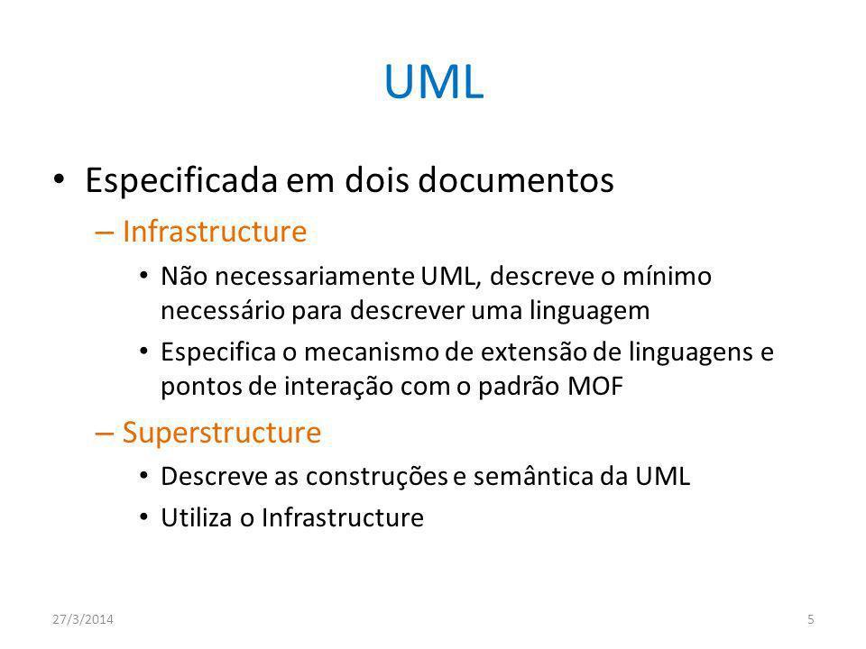 UML Especificada em dois documentos Infrastructure Superstructure