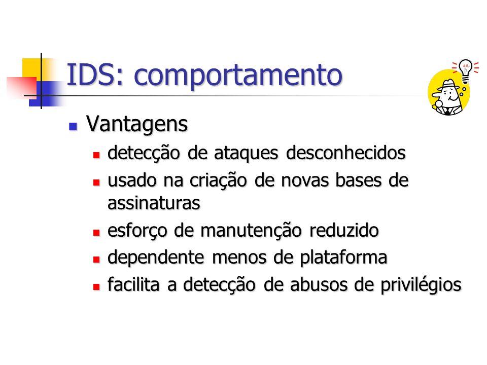 IDS: comportamento Vantagens detecção de ataques desconhecidos