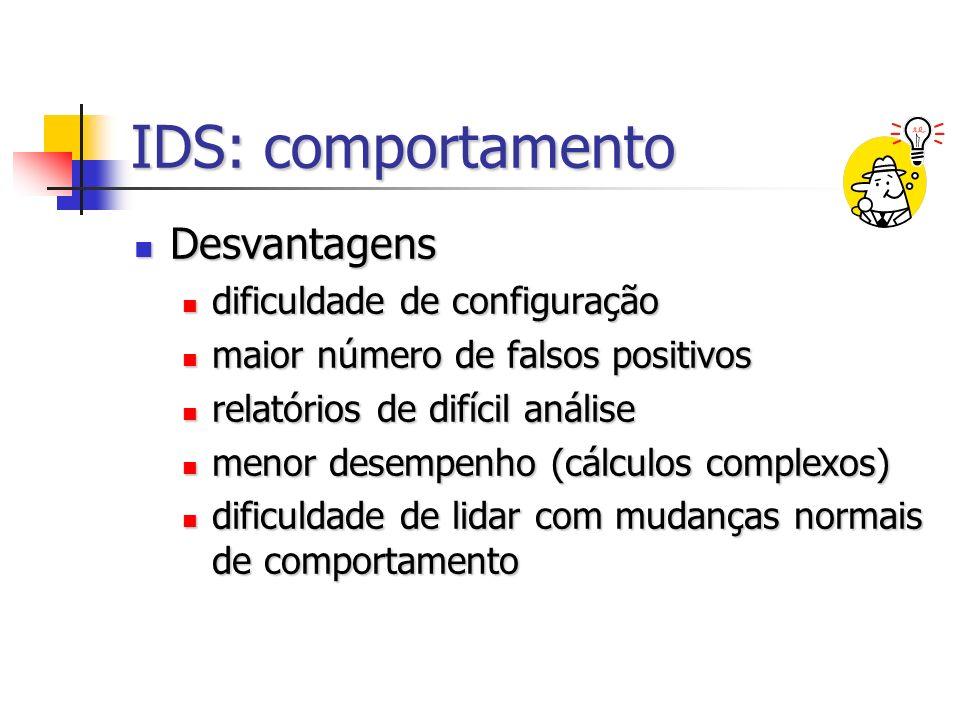 IDS: comportamento Desvantagens dificuldade de configuração