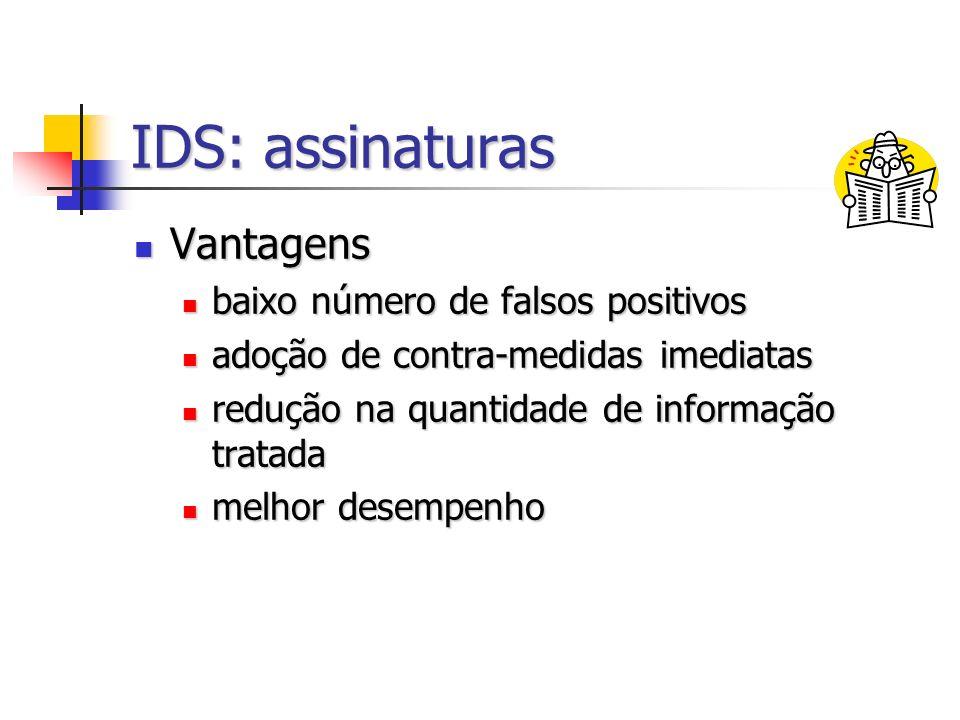 IDS: assinaturas Vantagens baixo número de falsos positivos