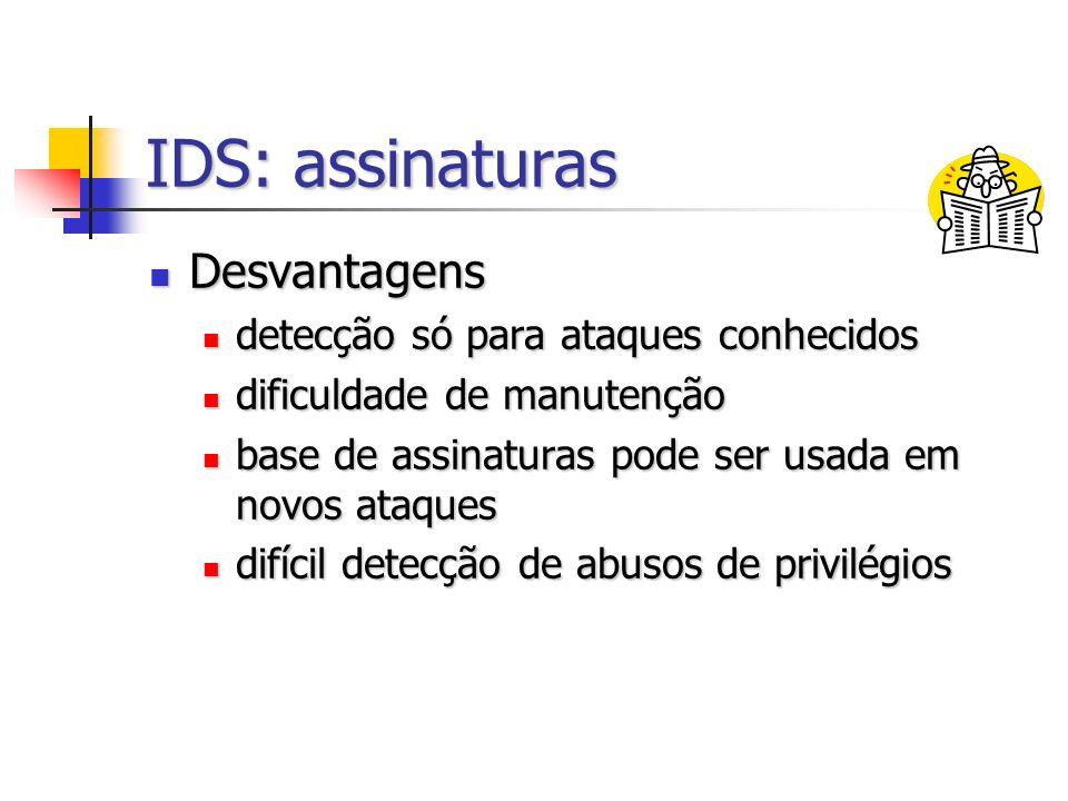 IDS: assinaturas Desvantagens detecção só para ataques conhecidos