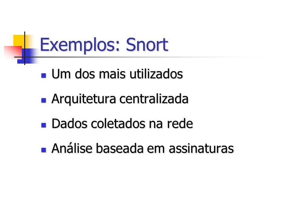 Exemplos: Snort Um dos mais utilizados Arquitetura centralizada