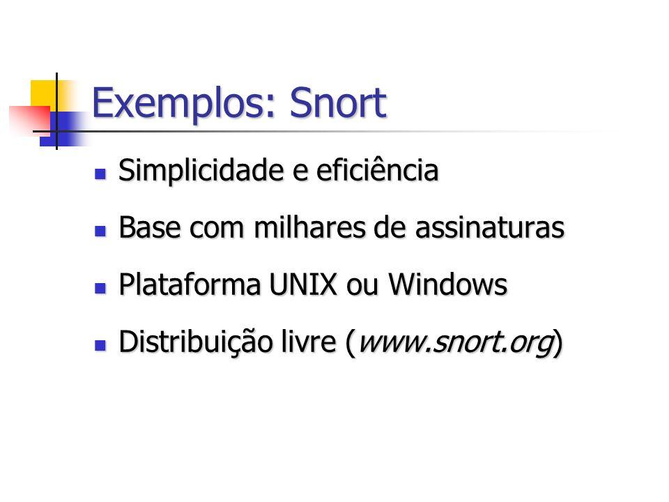 Exemplos: Snort Simplicidade e eficiência