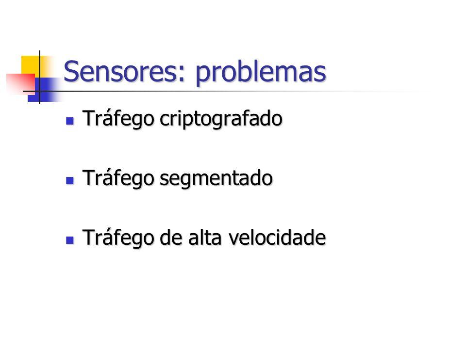 Sensores: problemas Tráfego criptografado Tráfego segmentado