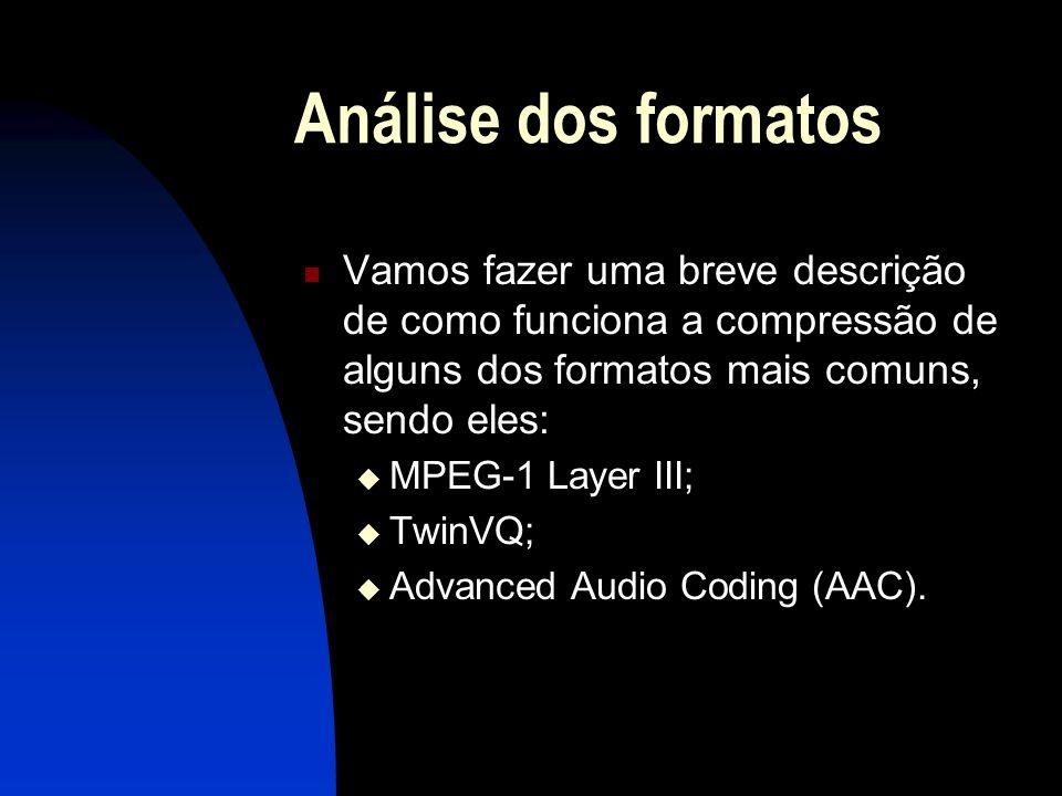 Análise dos formatos Vamos fazer uma breve descrição de como funciona a compressão de alguns dos formatos mais comuns, sendo eles: