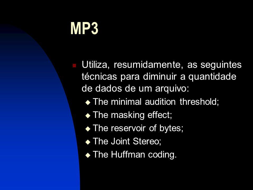 MP3 Utiliza, resumidamente, as seguintes técnicas para diminuir a quantidade de dados de um arquivo: