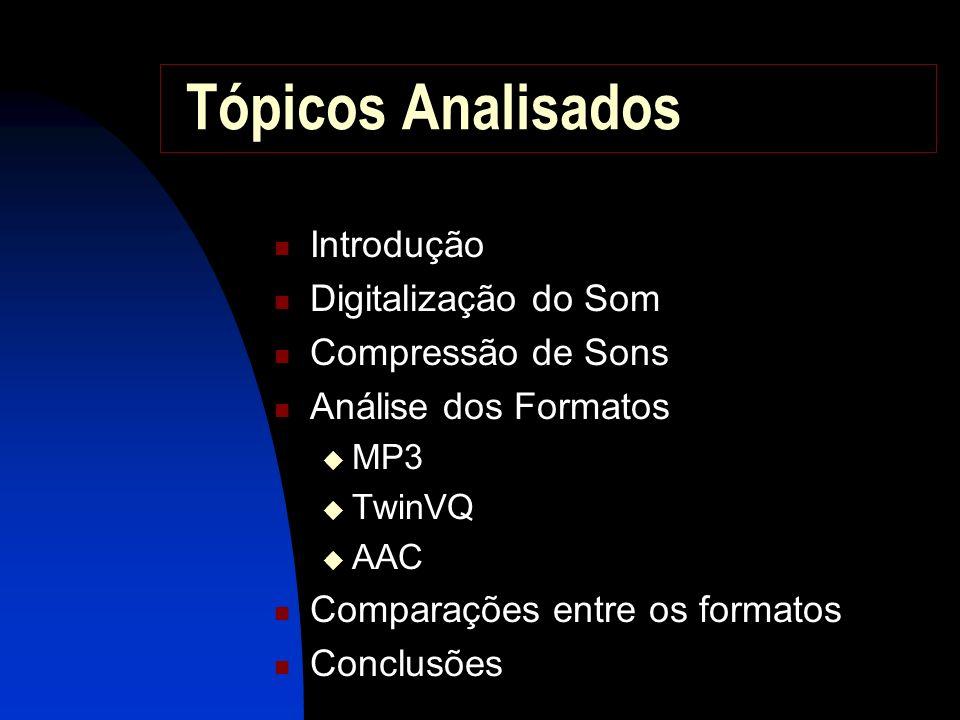 Tópicos Analisados Introdução Digitalização do Som Compressão de Sons