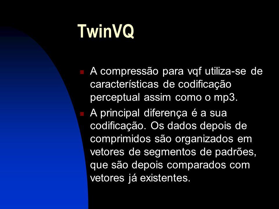 TwinVQ A compressão para vqf utiliza-se de características de codificação perceptual assim como o mp3.