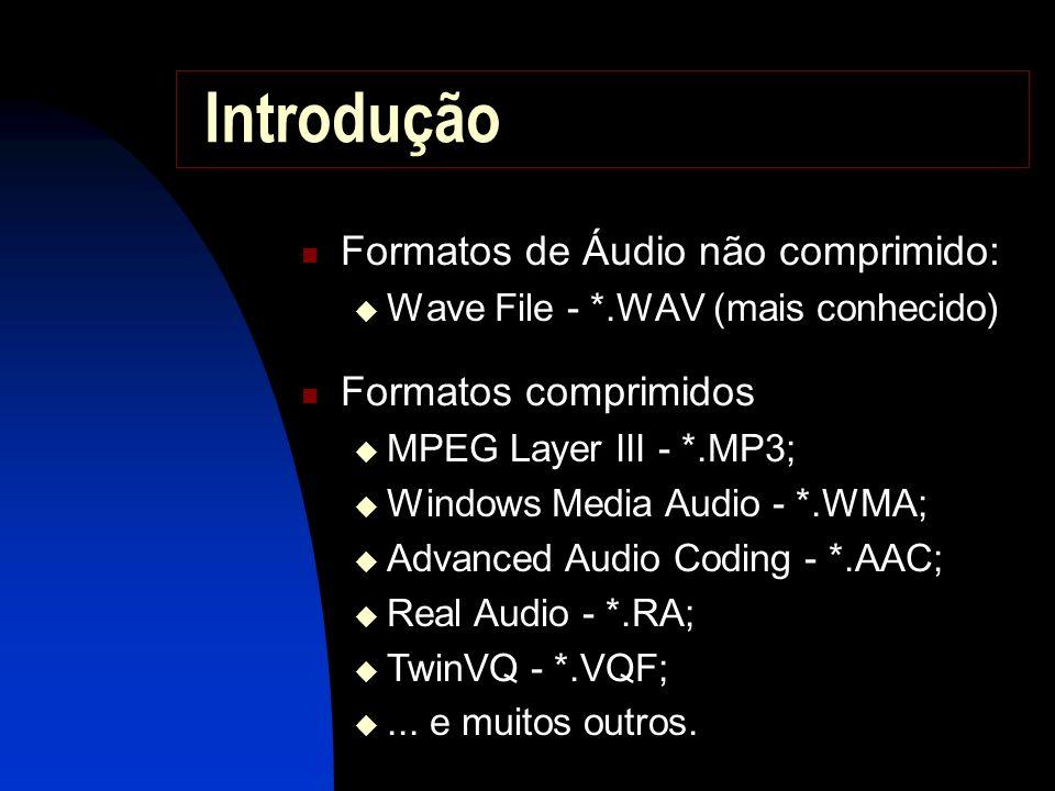 Introdução Formatos de Áudio não comprimido: Formatos comprimidos