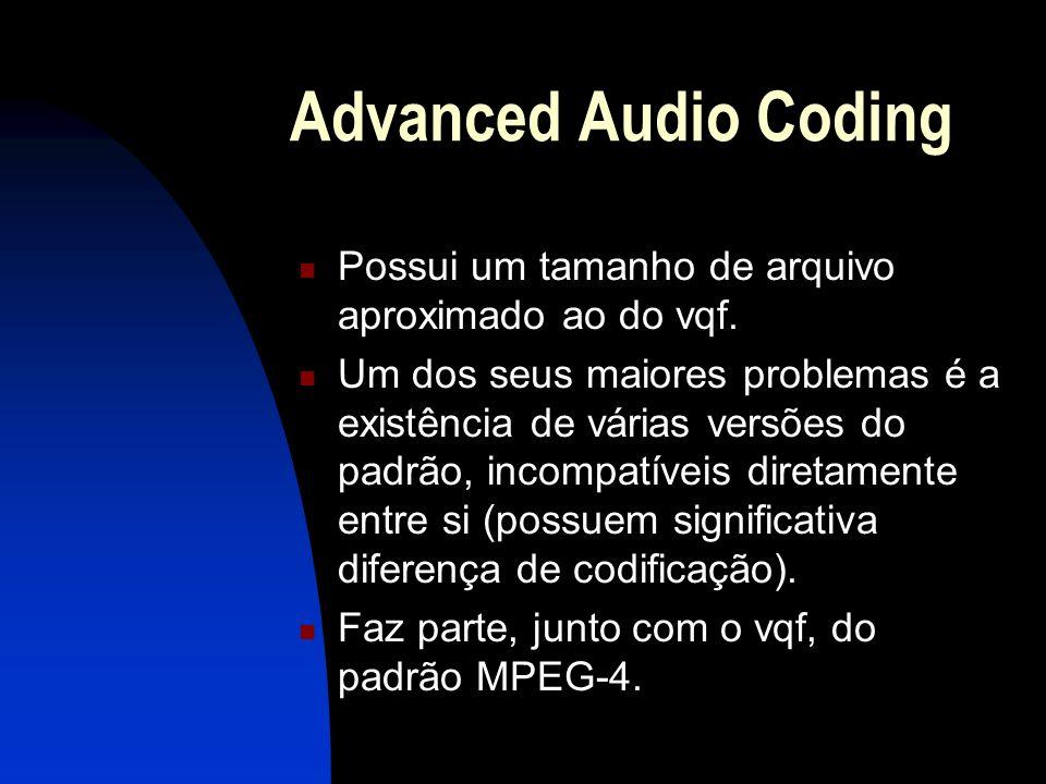 Advanced Audio Coding Possui um tamanho de arquivo aproximado ao do vqf.