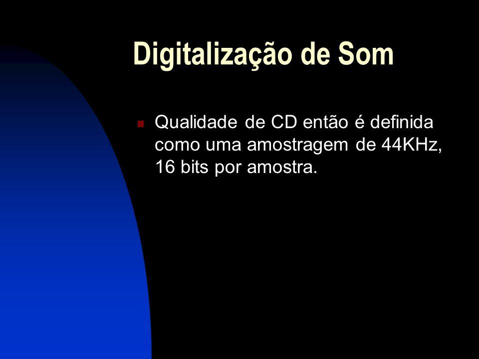 Digitalização de Som Qualidade de CD então é definida como uma amostragem de 44KHz, 16 bits por amostra.