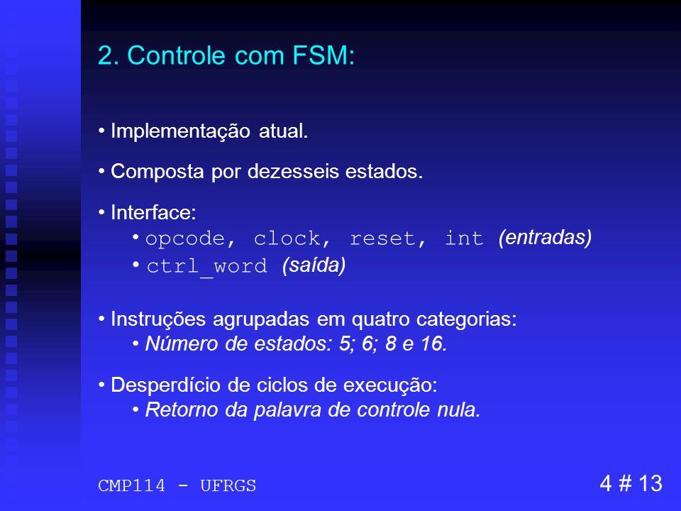 2. Controle com FSM: ctrl_word (saída) 4 # 13 Implementação atual.