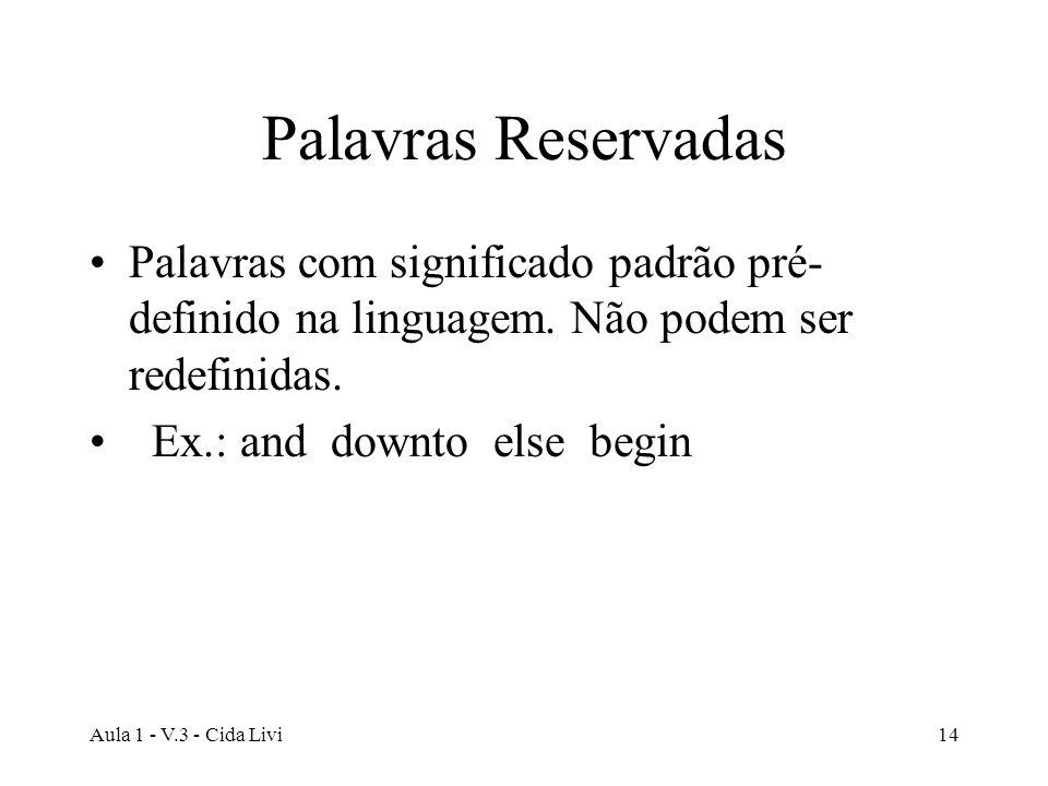 Palavras Reservadas Palavras com significado padrão pré-definido na linguagem. Não podem ser redefinidas.