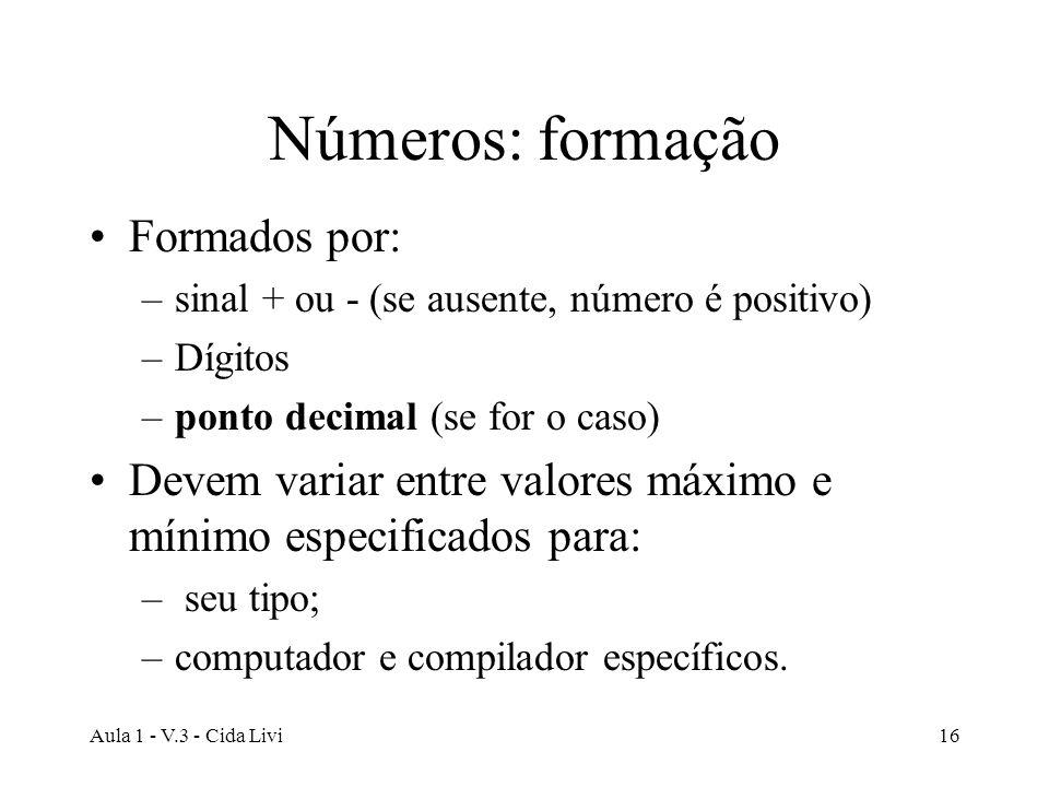 Números: formação Formados por: