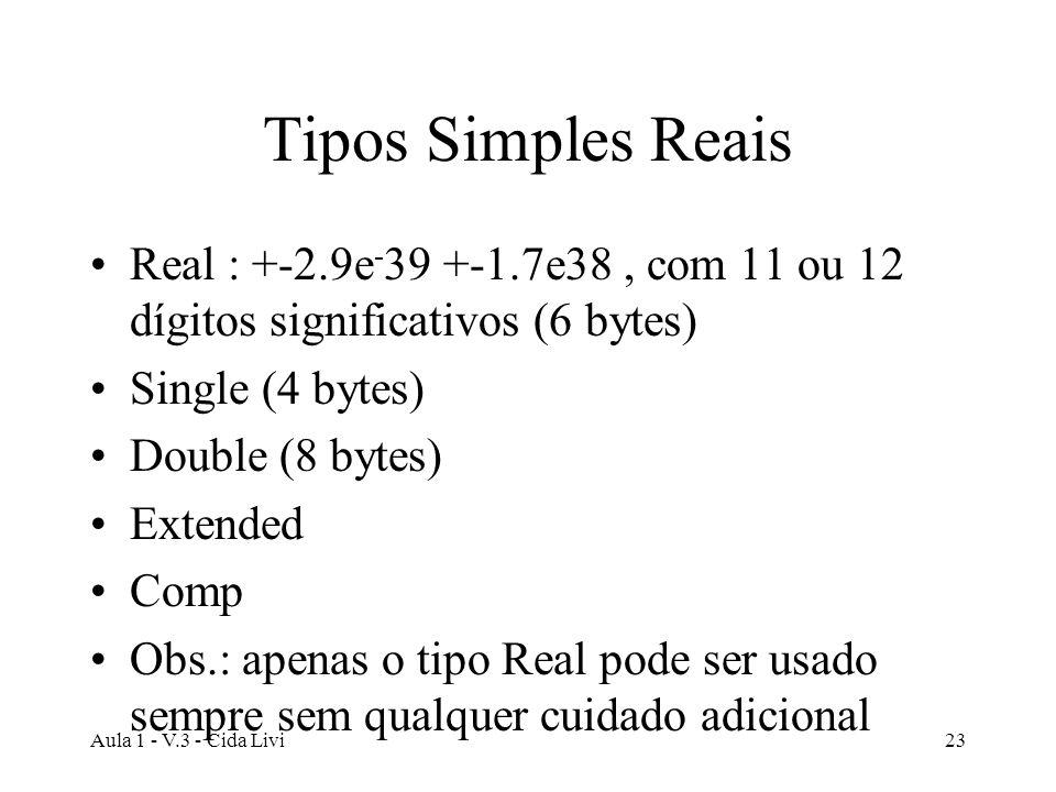 Tipos Simples Reais Real : +-2.9e-39 +-1.7e38 , com 11 ou 12 dígitos significativos (6 bytes)