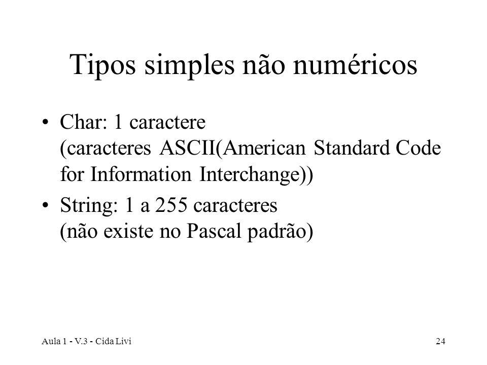 Tipos simples não numéricos