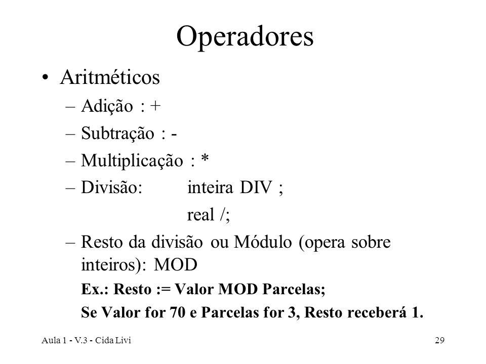 Operadores Aritméticos Adição : + Subtração : - Multiplicação : *
