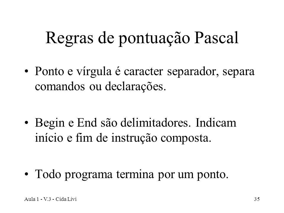 Regras de pontuação Pascal