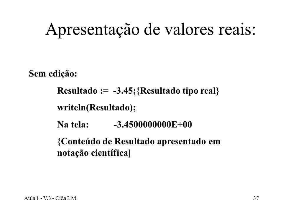Apresentação de valores reais: