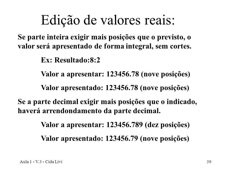 Edição de valores reais: