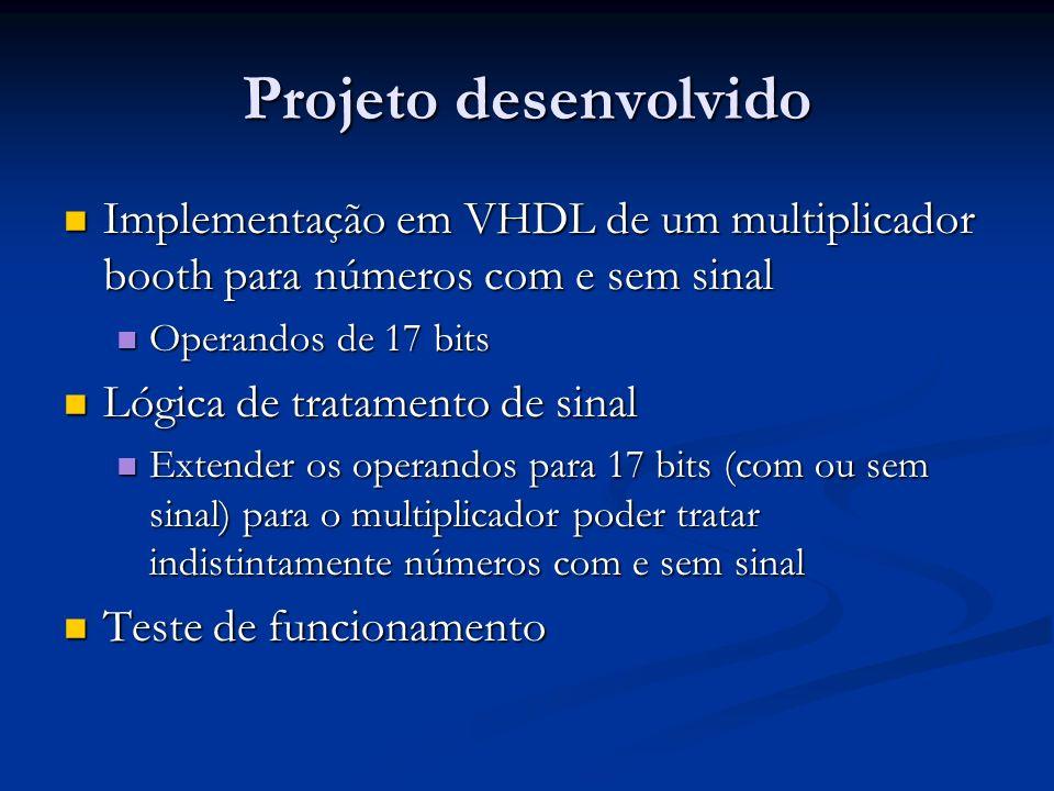 Projeto desenvolvido Implementação em VHDL de um multiplicador booth para números com e sem sinal. Operandos de 17 bits.