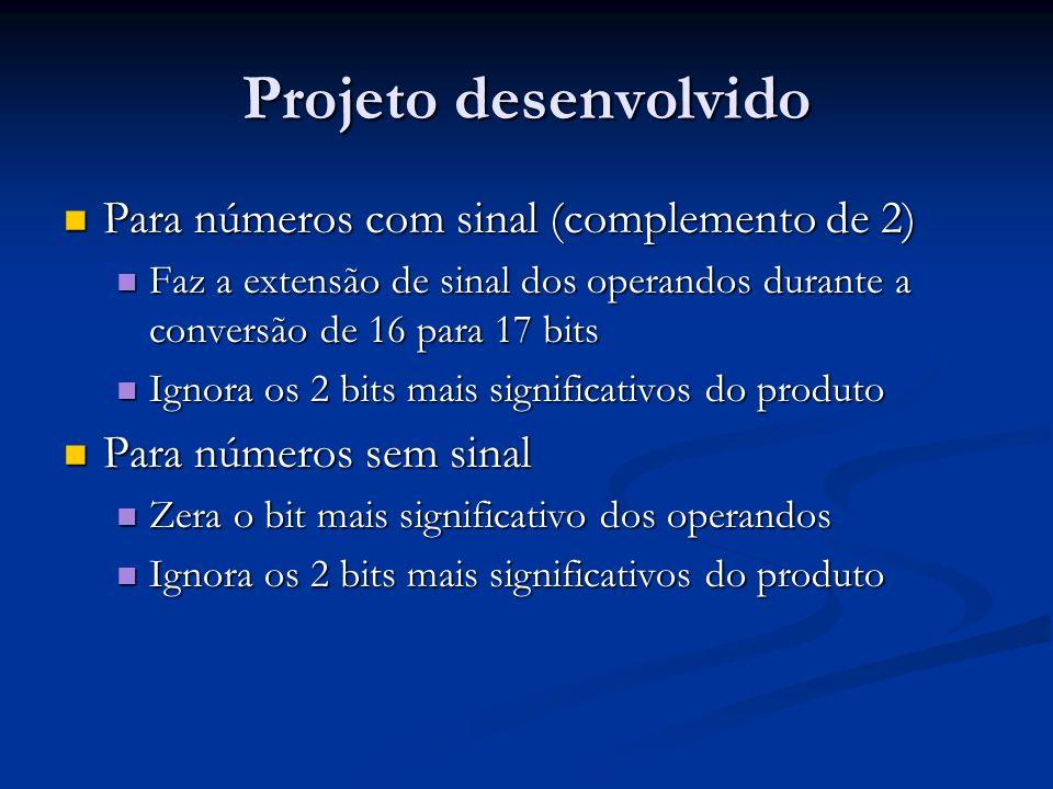 Projeto desenvolvido Para números com sinal (complemento de 2)