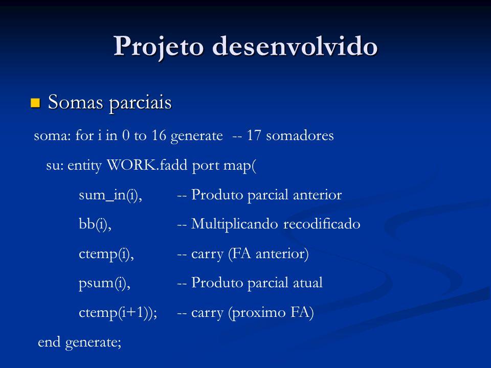 Projeto desenvolvido Somas parciais
