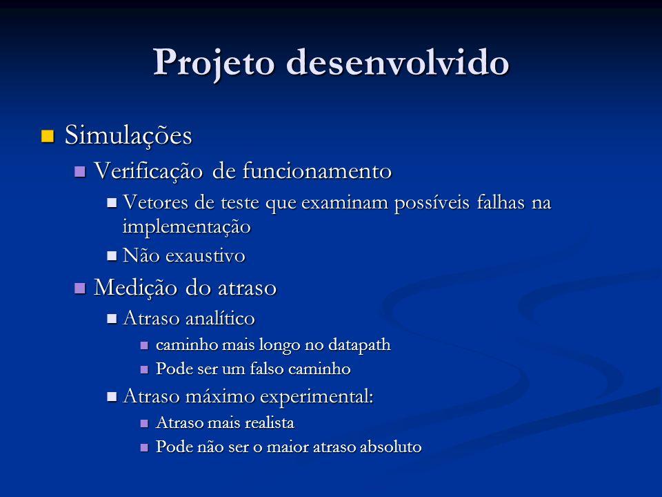 Projeto desenvolvido Simulações Verificação de funcionamento