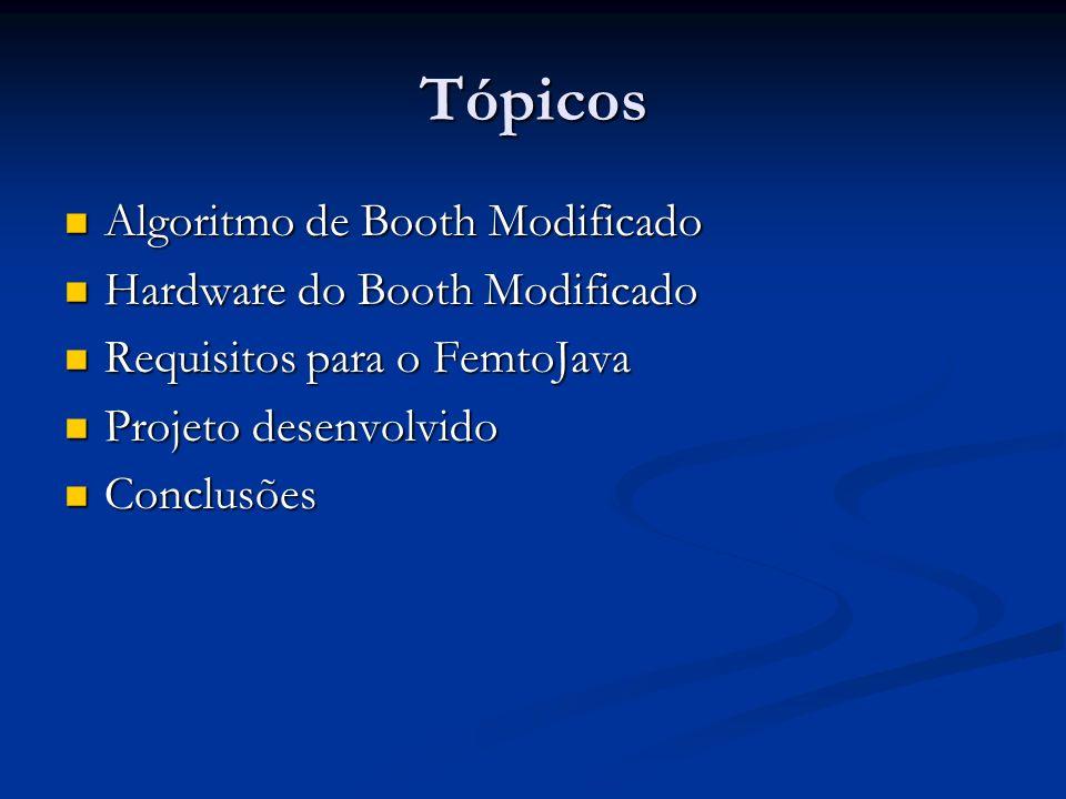 Tópicos Algoritmo de Booth Modificado Hardware do Booth Modificado