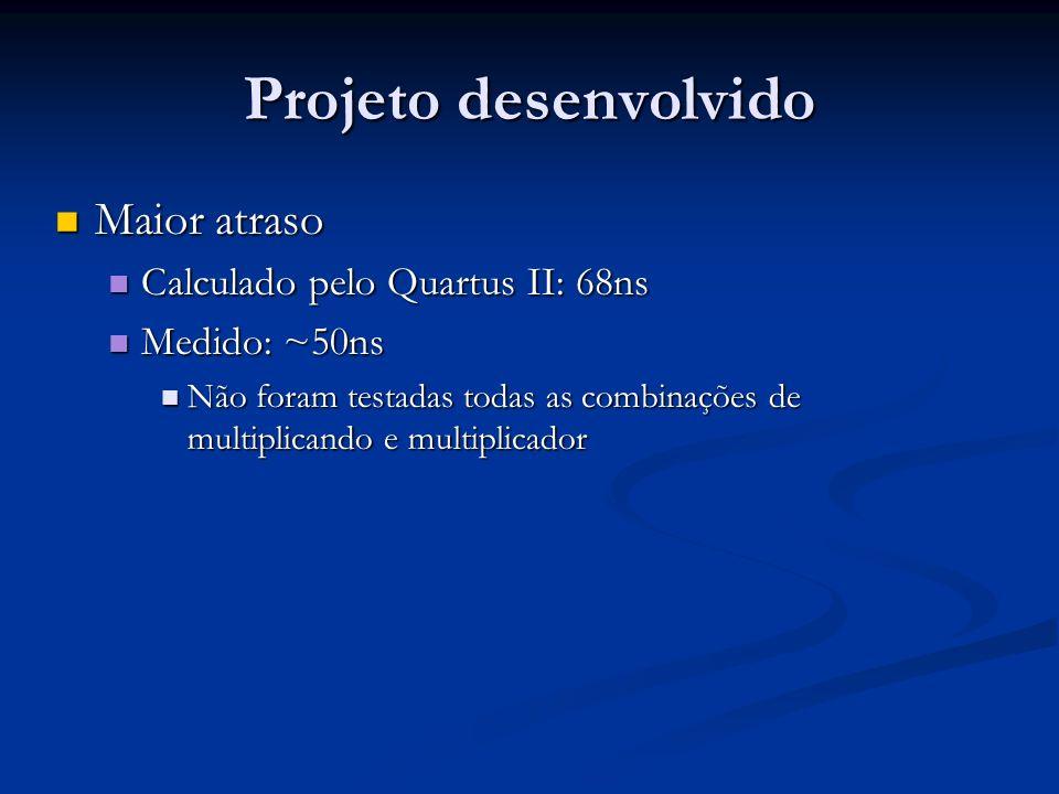 Projeto desenvolvido Maior atraso Calculado pelo Quartus II: 68ns