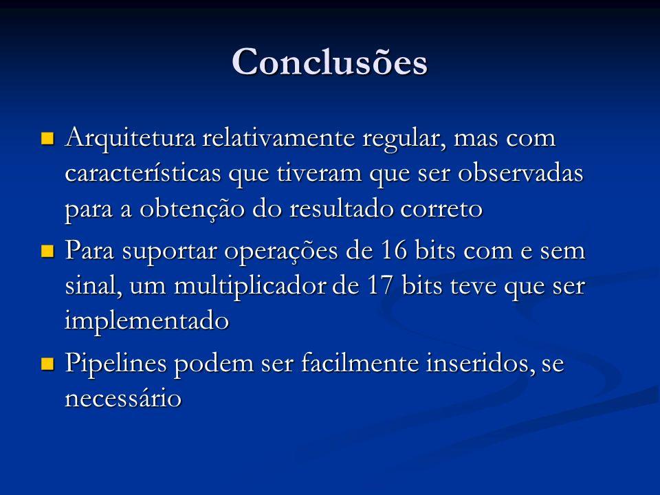 Conclusões Arquitetura relativamente regular, mas com características que tiveram que ser observadas para a obtenção do resultado correto.