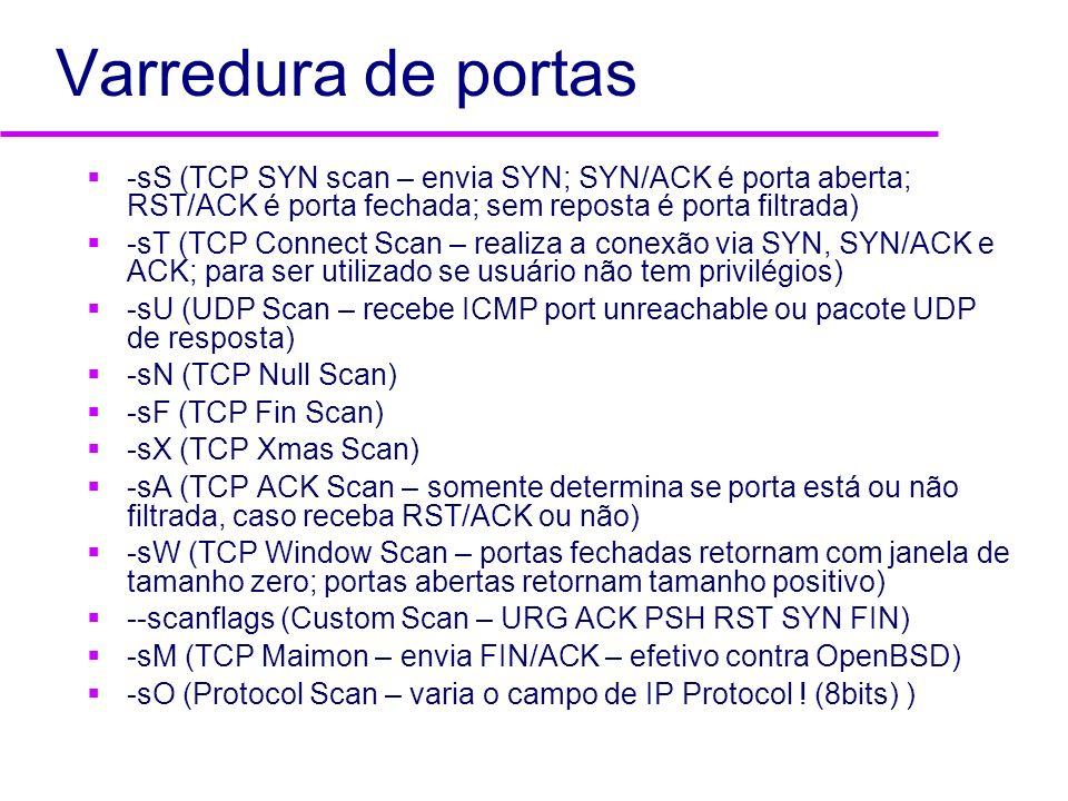 Varredura de portas -sS (TCP SYN scan – envia SYN; SYN/ACK é porta aberta; RST/ACK é porta fechada; sem reposta é porta filtrada)