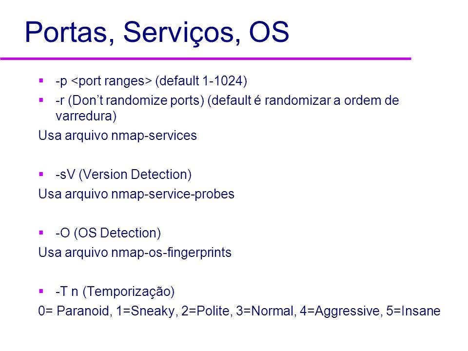 Portas, Serviços, OS -p <port ranges> (default 1-1024)