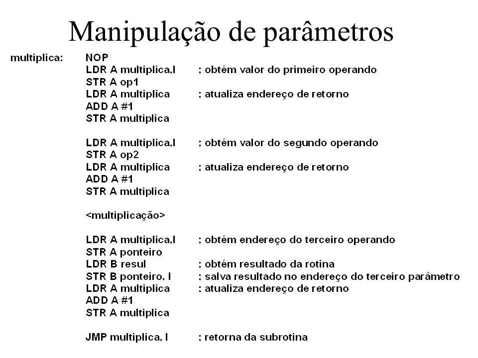 Manipulação de parâmetros