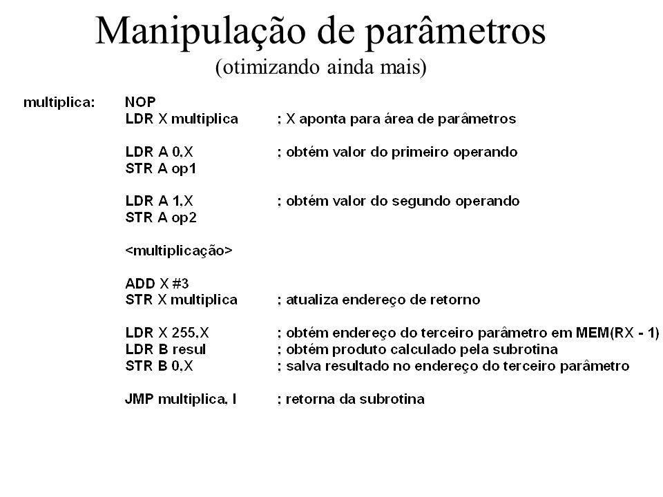 Manipulação de parâmetros (otimizando ainda mais)